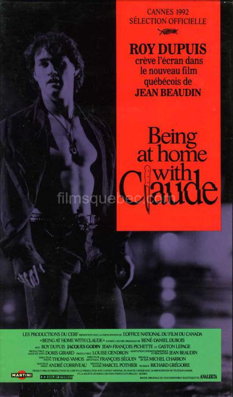 Pochette VHS du film Being at home with Claude de 1992 réalisé par Jean Beaudin
