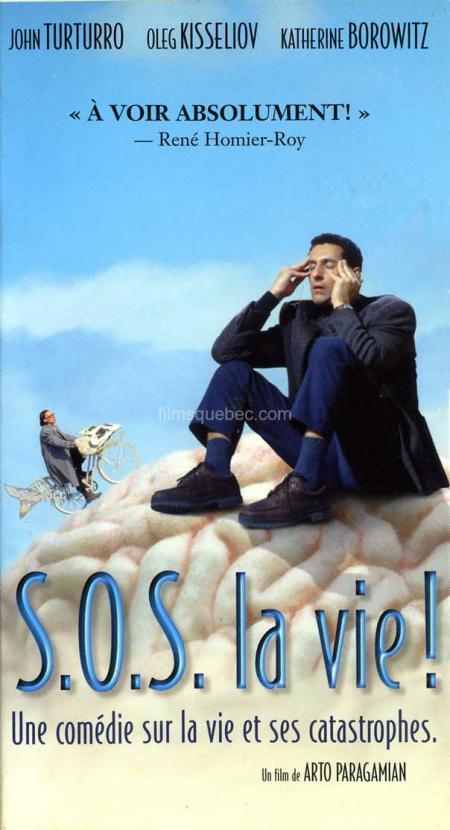 Pochette VHS du film Two Thousand and None de Arto Paragamian. On y voit l'acteur américain John Turturro assis sur un cerveau géant.