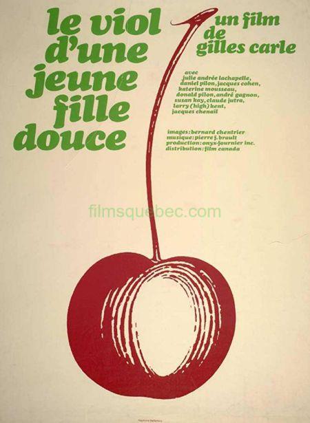 Affiche du film Le Viol d'une jeune fille douce de Gilles Carle (une cerise rouge sur fond beige avec en haut les crédits écrits en vert pomme)