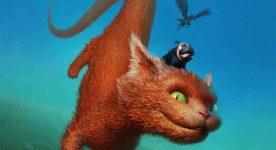 Affiche Fantasia 2018 (un gros chat volant avec un bouledogue sur la tête)