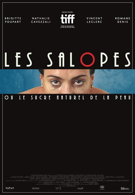 Affiche du film Les salopes ou le sucre naturel de la peau de Renée Beaulieu (les yeux d'une femme, encadrée en haut et en bas par par le titre du film écrit en blanc sur fond noir)