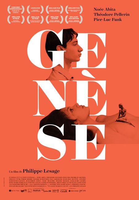 Affiche québécoise du film Genèse de Philippe Lesage (grosses lettres blanches sur fonds orange uni, et deux visages montrés de profil)