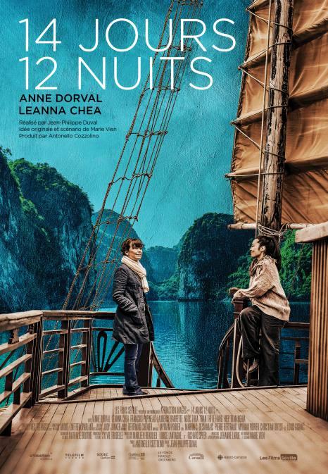 Affiche du film 14 jours 12 nuits, réalisé par Jean-Philippe Duval. Dans une baie quelque part en Asie, deux femmes se regardent sur le pont d'un vieux voilier