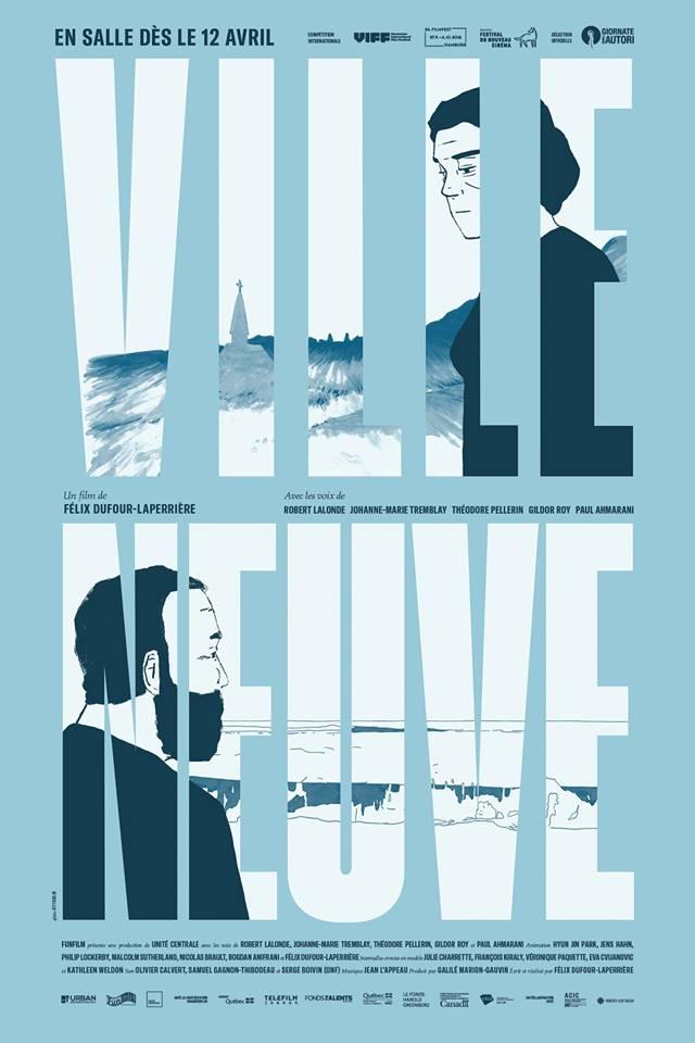 Affiche du film Ville Neuve de Félix Dufour-Laperrière (lettres immenses sur fond bleu pâle)