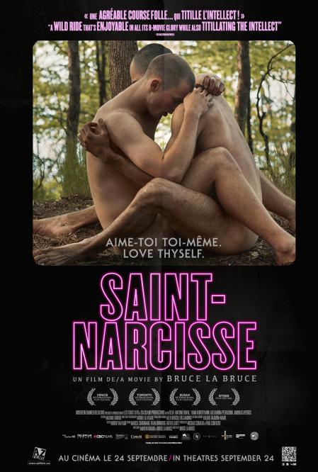 """Affiche du film Saint-Narcisse de Bruce LaBruce - """"Aime-toi toi-même"""" est le slogan inséré sur l'image d'un couple de garçons enlacés"""