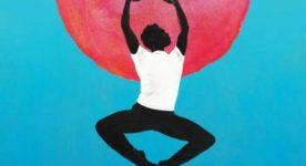 Afiche du film Sin La Habana (dessin montrant un danseur sur fond de soleil rouge)