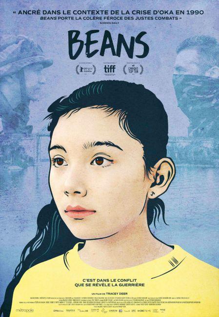 Affiche du film Beans de Tracey Deer (visage d'une jeune fille peint sur un fond bleu qui montre un soldat et un amérindien face à face)