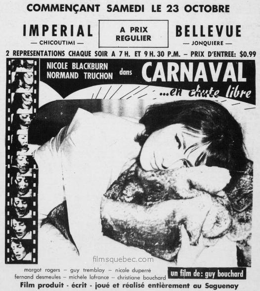 Encart presse pour le film Carnaval en chute libre de Guy Bouchard