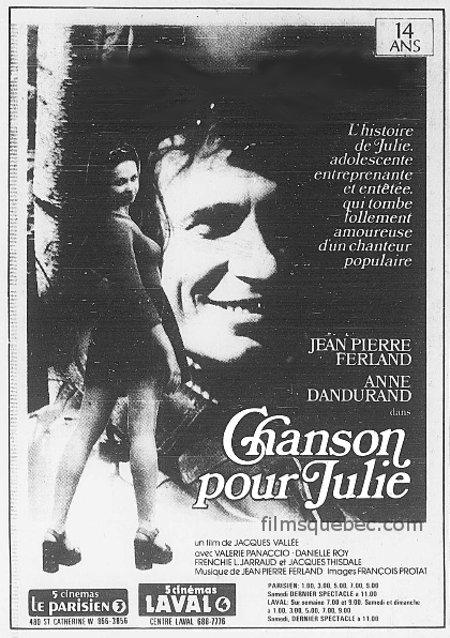 Chanson pour Julie - Encart de presse utilisé dans les journaux de 1976 pour annoncer la sortie du film mettant en vedette Jean-Pierre Ferland