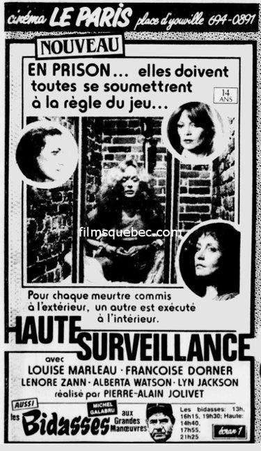 """Encart publiciataire paru en 1985 dans Le Soleil pour le film """"Haute surveillance"""" de Pierre-Alain Jolivet"""