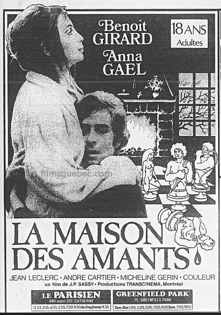 """Encart promotionnel du film d'exploitation québécois """"La maison des amants"""""""