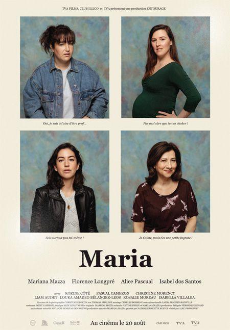 Affiche du film Maria (les portraits des quatre comédiennes sont en mosaïque sur un fonds beige)