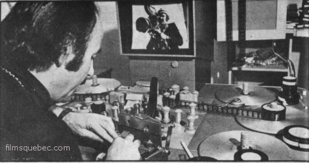 Sam Fortune à la table de montage (image extraite du Télé-radiomonde du 10 juin 1971)