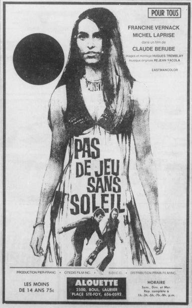 """Encart promotionnel pour le film """"Pas de jeu sans soleil"""" de Claude Bérubé (tiré du Soleil)"""