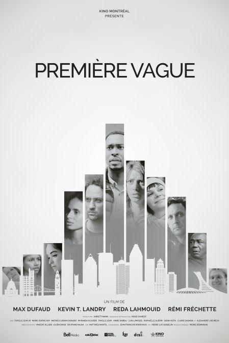 Affiche du film Première vague (visages des comédiens insérés dans des barres grisees ressemblant à celles des graphiques)