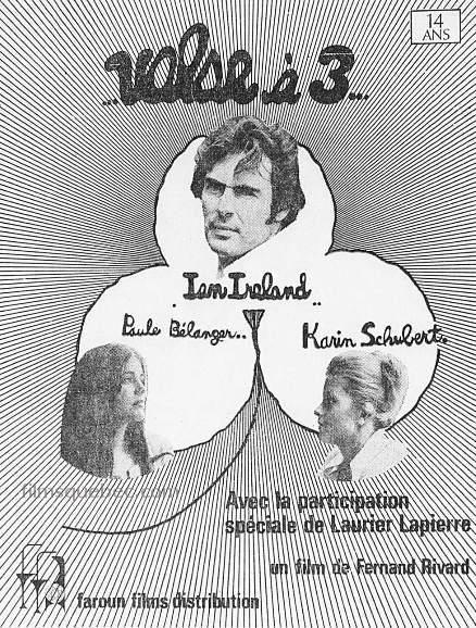 """Encart presse pour le film """"Valse à trois"""" de Fernand Rivard (un trèfle à trois feuilles et les trois portraits des comédiens)"""